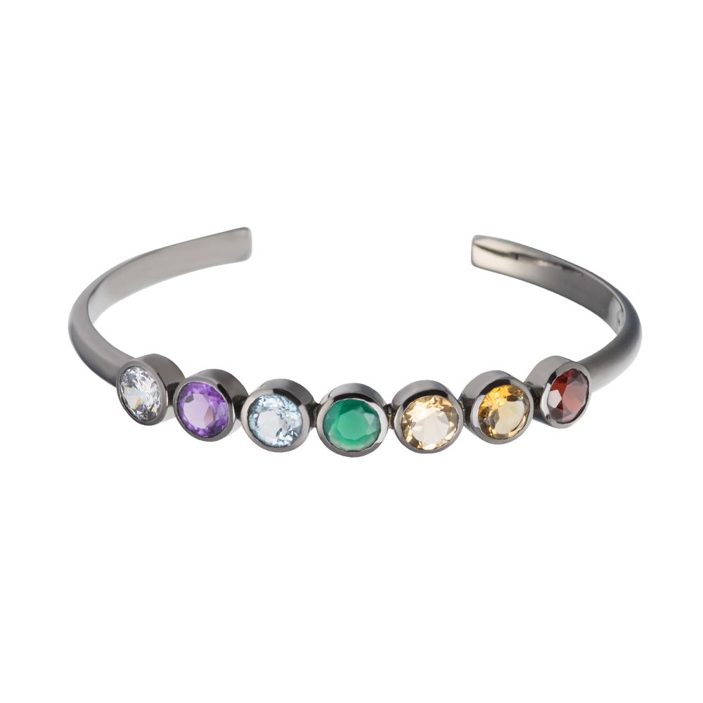 176b91816aaac Bracelete chacras em prata com banho de ródio negro e pedras diversas